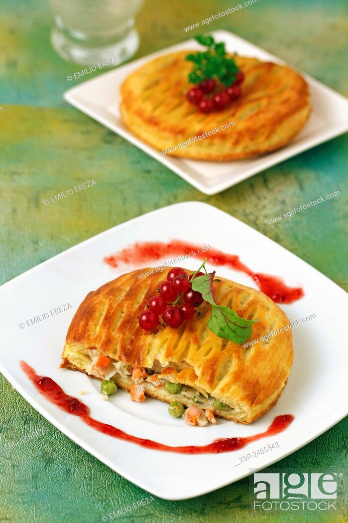 Stock Photo: Puff pastry with cheese and vegetables.