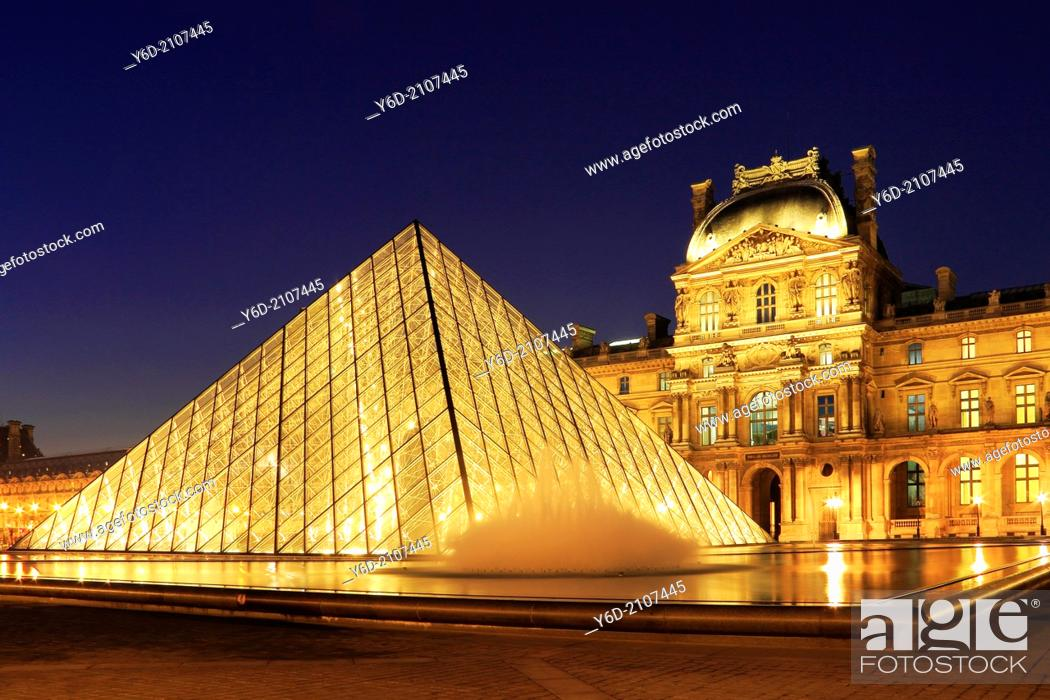 Stock Photo: The Louvre at Night, Paris, France.