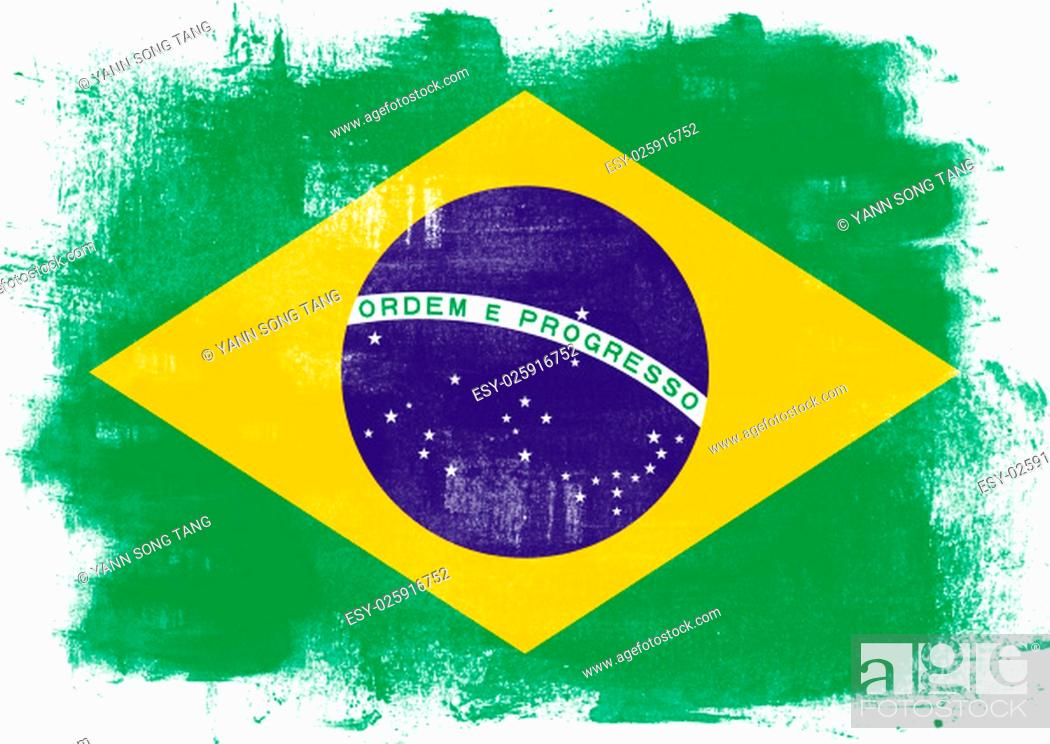 Stock Photo: Flag of Brazil painted with brush on solid background,.