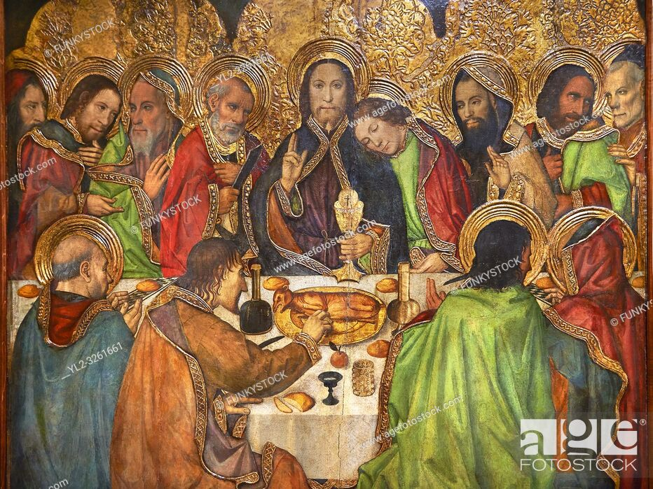 Stock Photo: Gothic Altarpiece depicting the Last Supper (Sant Sopar) by Jaume Huguet, circa 1463 - 1475, Tempera and gold leaf on wood.