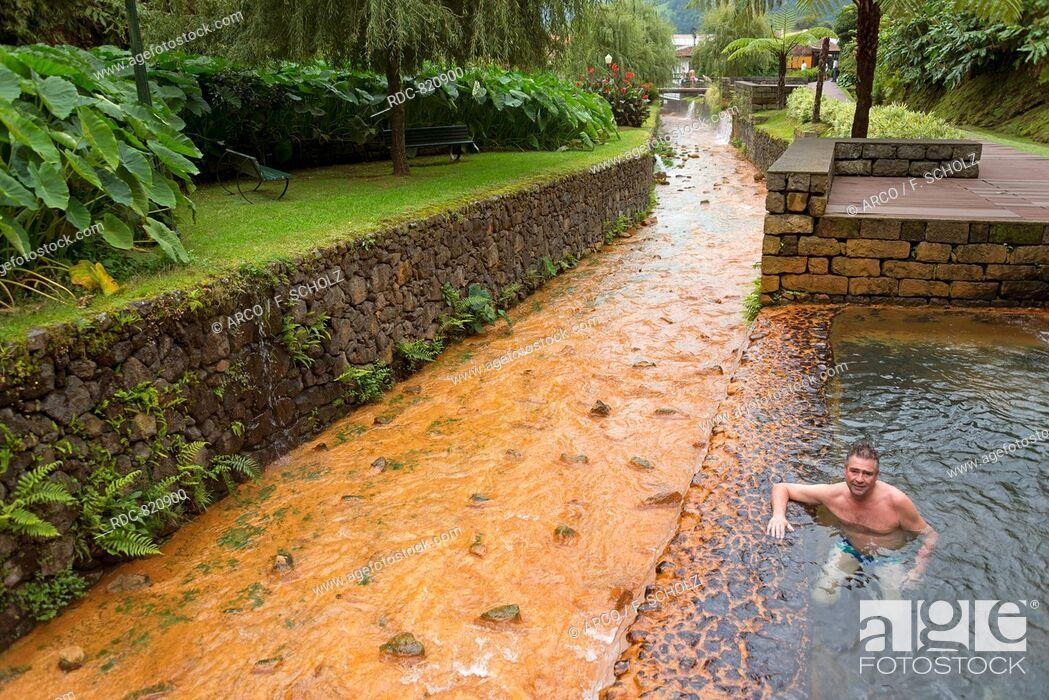 Stock Photo: Hot Springs, Poca da Dona Beija, Furnas, Sao Miguel, Azores, Portugal.