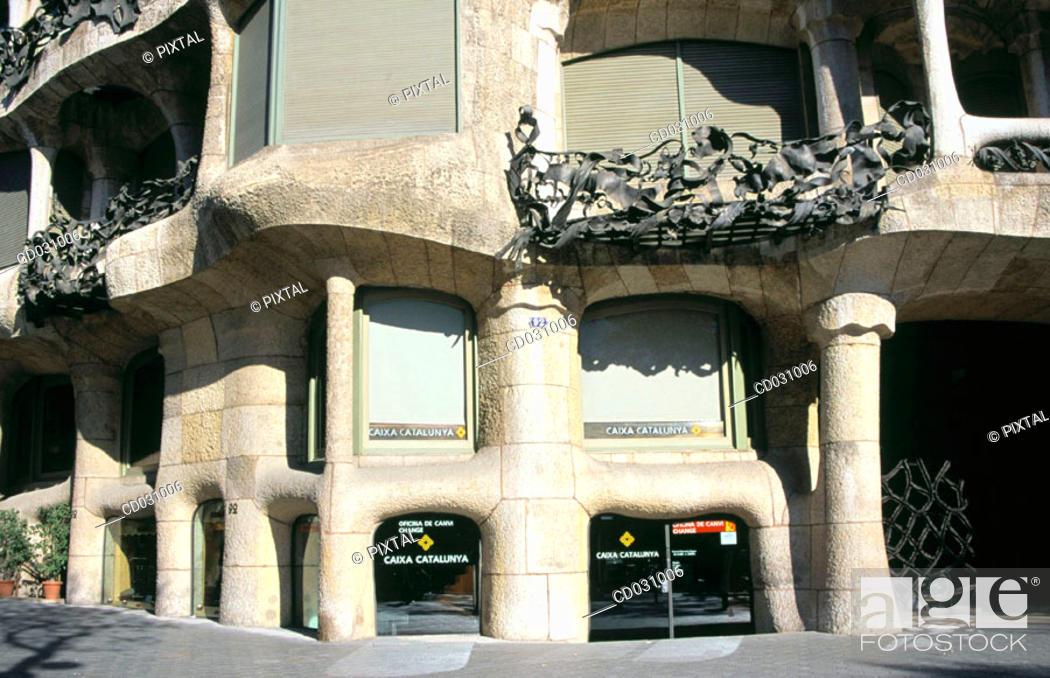 Stock Photo: Entrance to Milà House, aka 'La Pedrera' (Gaudí, 1906-1912). Barcelona. Spain.