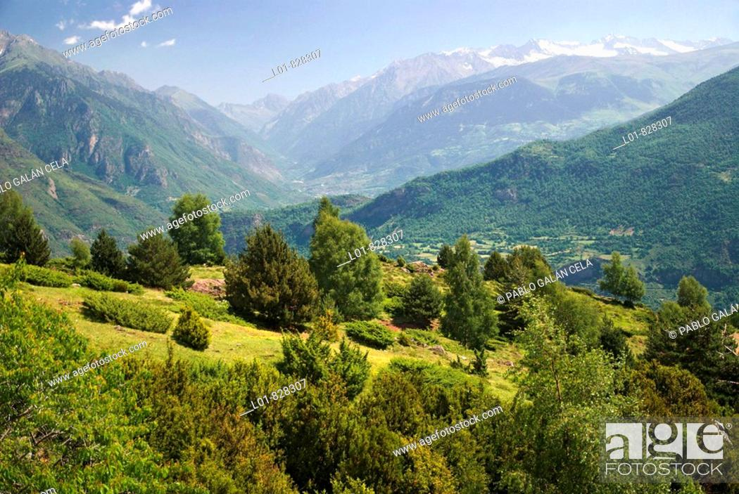 Stock Photo: Benasque Valley in the Pyrenees Mountains. Huesca province. Aragon. Spain.