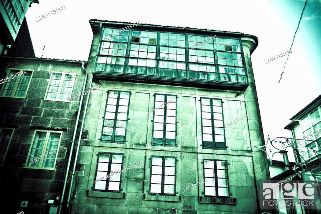 Stock Photo: Facade in Santiago de Compostela, Galicia, Spain.