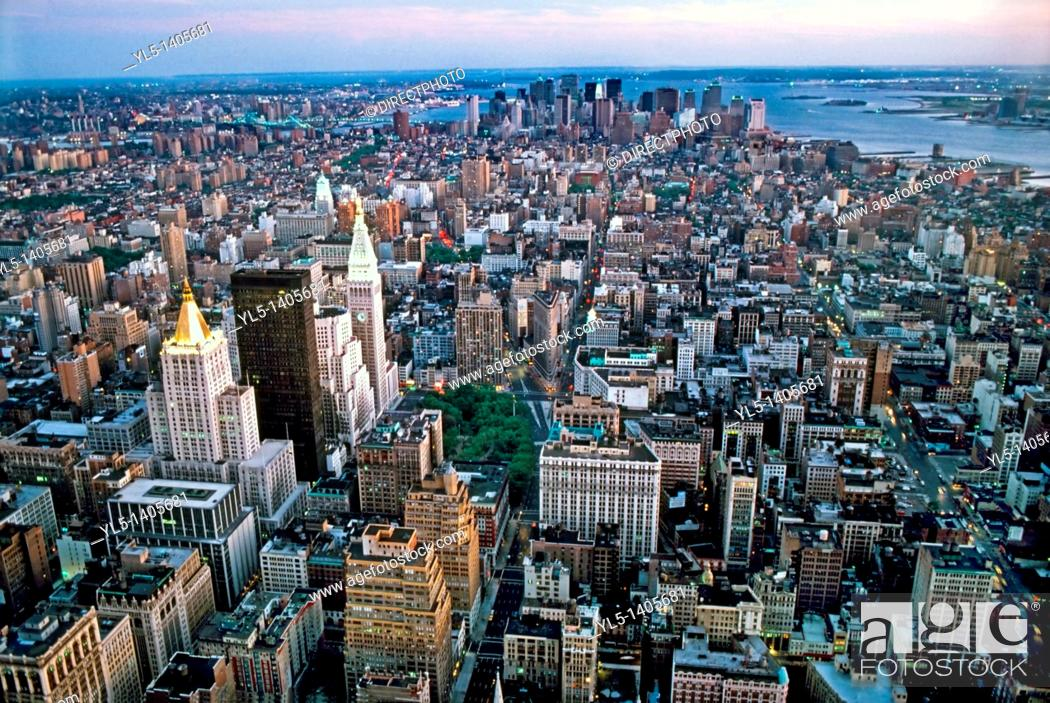 Stock Photo: New York, NY, Skyline, South, From Empire State Bldg.