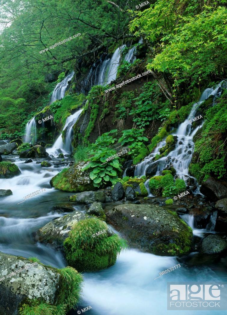 Stock Photo: Doryu Waterfall and Kawamata Higashizawa Valley, Hokuto, Yamanashi, Japan.