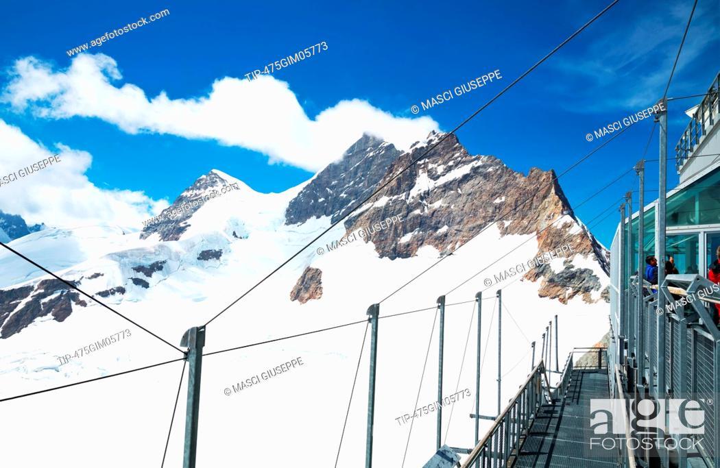 Switzerland, Jungfraujoch, the Jungfrau Peacks seen from the