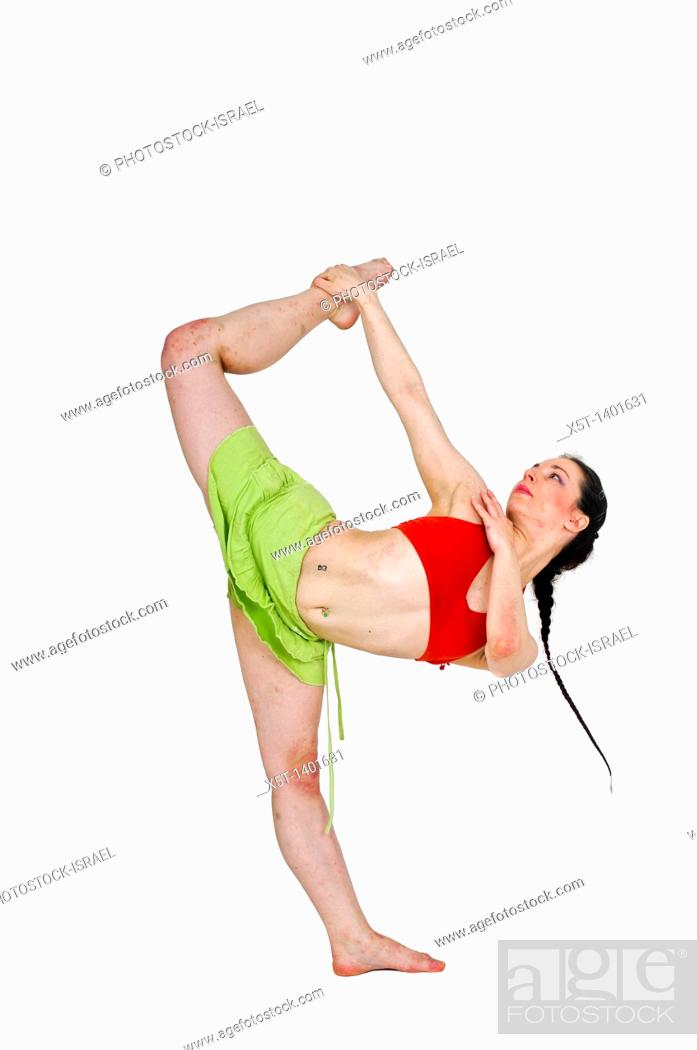 Stock Photo: Young female modern dancer On white Background.