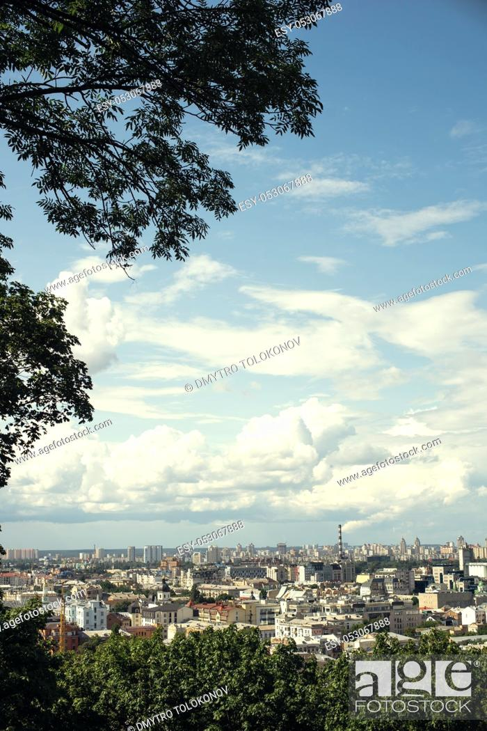 Stock Photo: Big city behind, abstract urban landscape with architecture elements and skies.