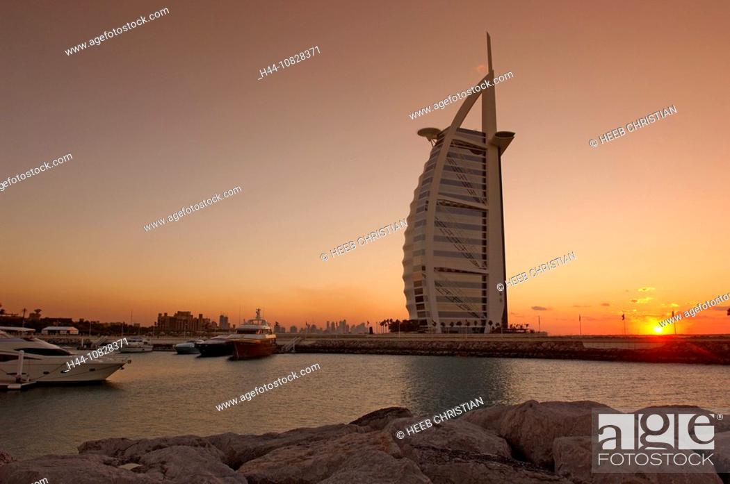 Stock Photo: Burj Al Arab, five-star hotel, skyscraper, highrise, towerblock, multistory, high-rise building, sail, architecture, m.