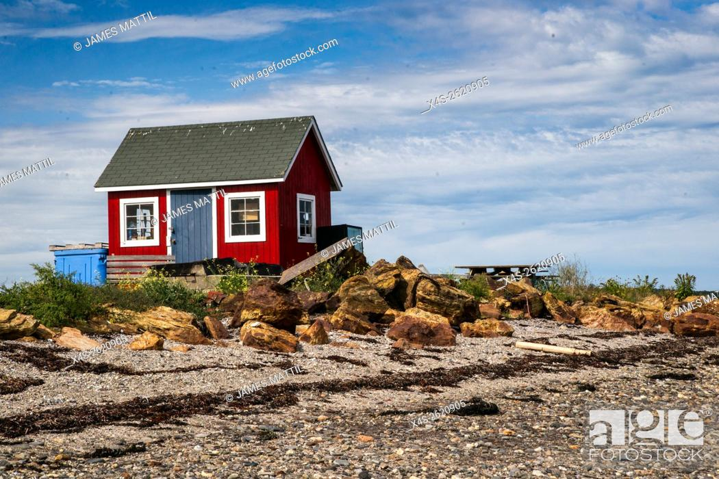 Stock Photo: An old wooden lobsterman's shack on a remote Maine island.