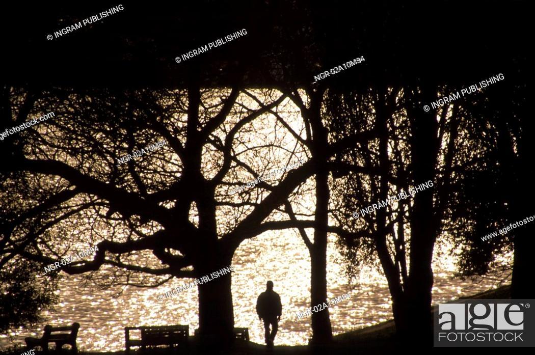 Stock Photo: Person Walking on Path Beside Lake.