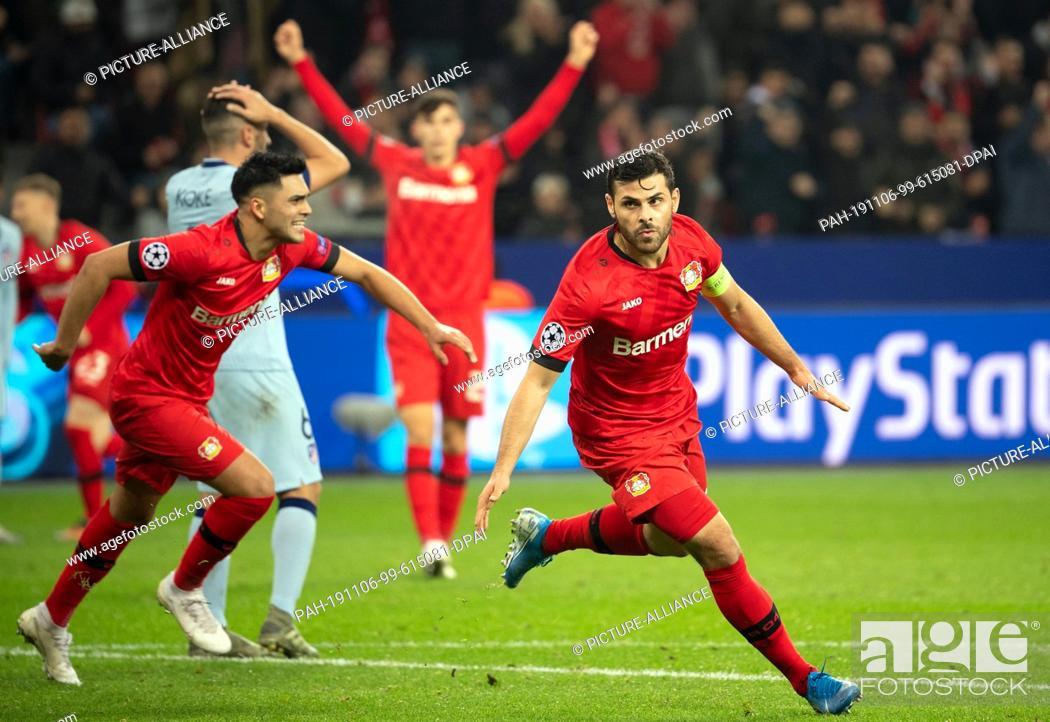 Stock Photo: 06 November 2019, North Rhine-Westphalia, Leverkusen: Soccer: Champions League, Bayer Leverkusen - Atletico Madrid, Group stage, Group D, Matchday 4.