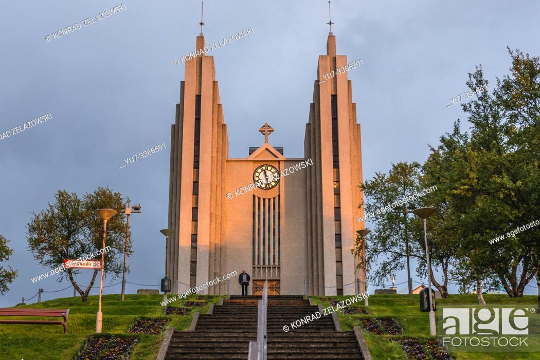 Stock Photo: Akureyrarkirkja - Church of Akureyri city build in 1940, Capital of North Iceland.
