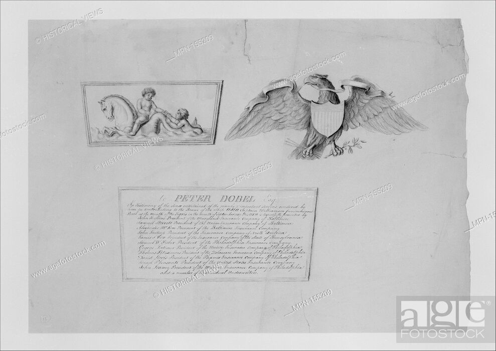Stock Photo: Designs for the ornaments and inscription on a testimonial urn. Artist: Thomas Fletcher (American, Alstead, New Hampshire 1787-1866 New Jersey); Artist: Sidney.