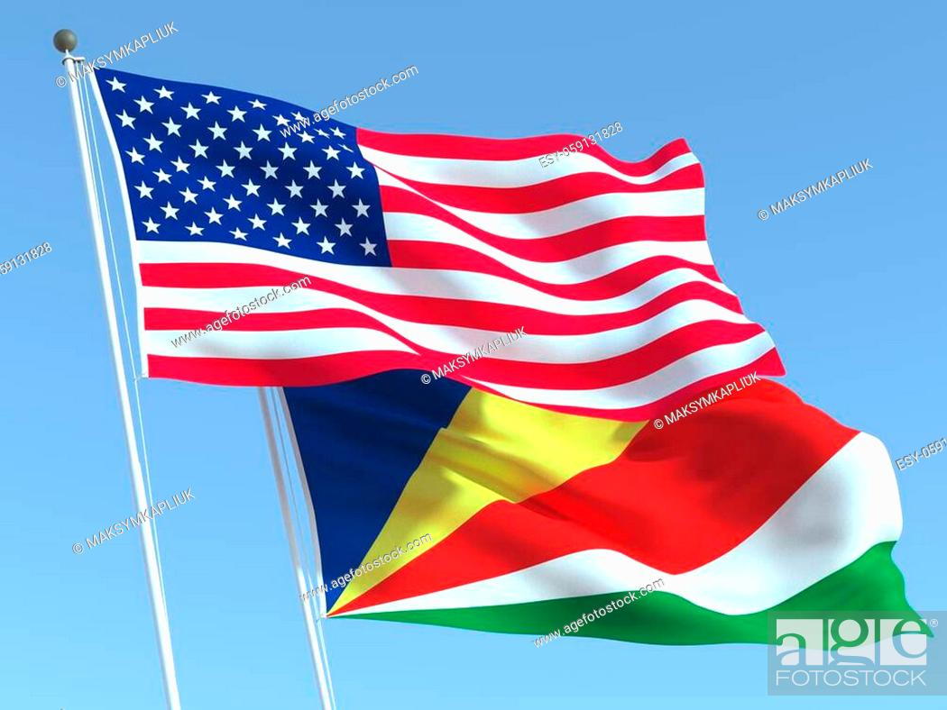Stock Photo: Two waving state flags of United States and Seychelles on the blue sky. High - quality business background. 3d illustration.