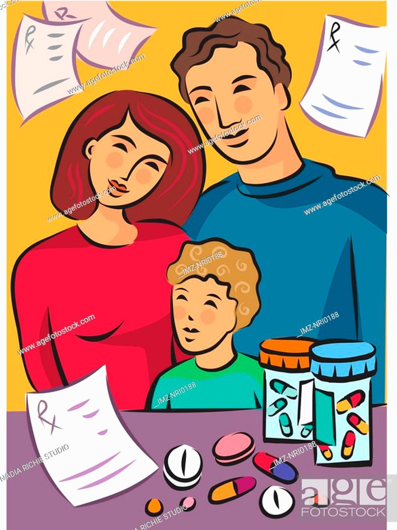 Stock Photo: A family standing near medicines with prescriptions in the background.
