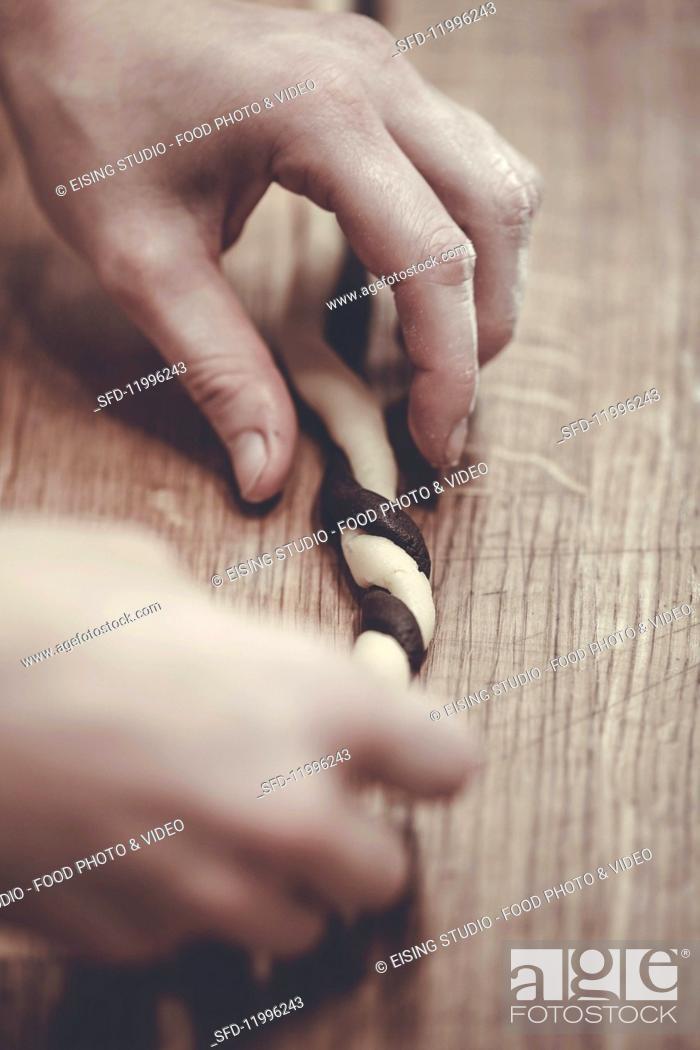 Stock Photo: Making swirl cookies.