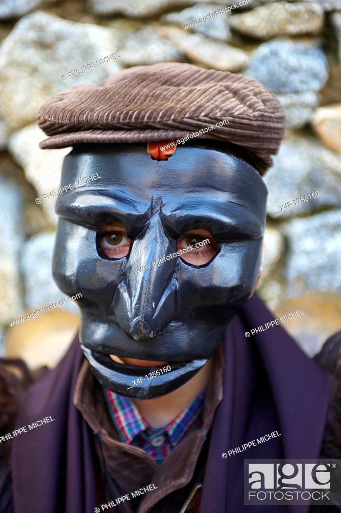 Stock Photo: Italy  Sardinia  Nuoro province  Mamoiada village  Canival with Mamuthones and Issohadores mask.