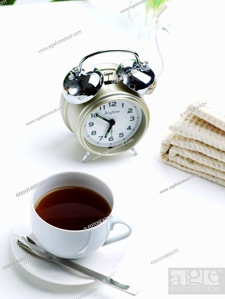 Stock Photo: cuisine, coffee, food, saucer, table clock, beverage, coffee cup.