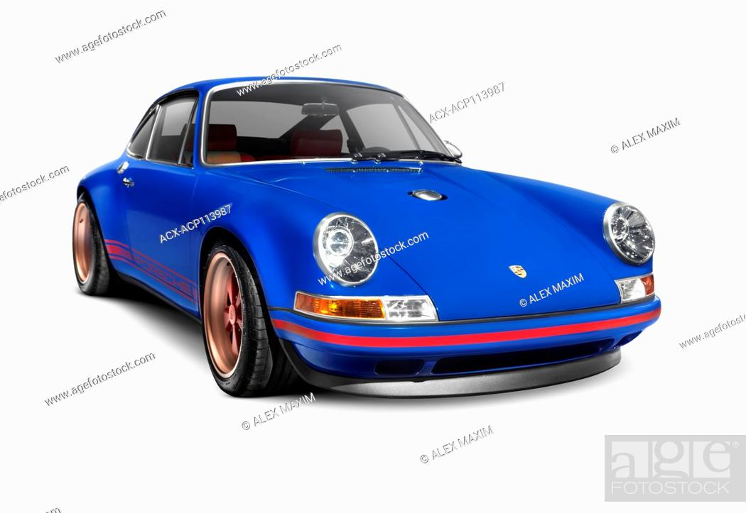Stock Photo: Blue 1991 Porsche 911 classic retro sports car isolated on white background with clippiing path.