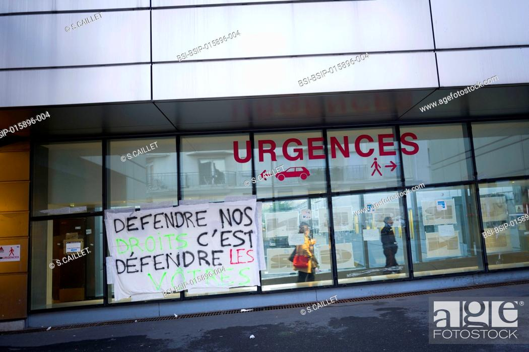 Stock Photo: Picket sign of demands by striking ER staff at Tenon Hospital in Paris.