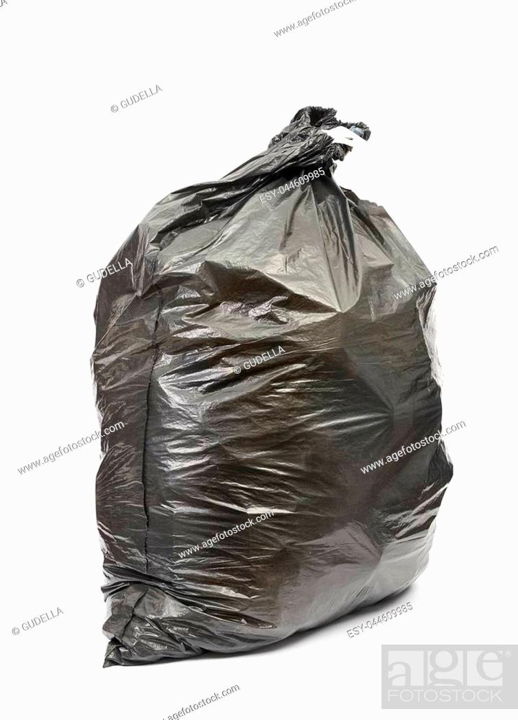 Stock Photo: Black garbage bag on white background.