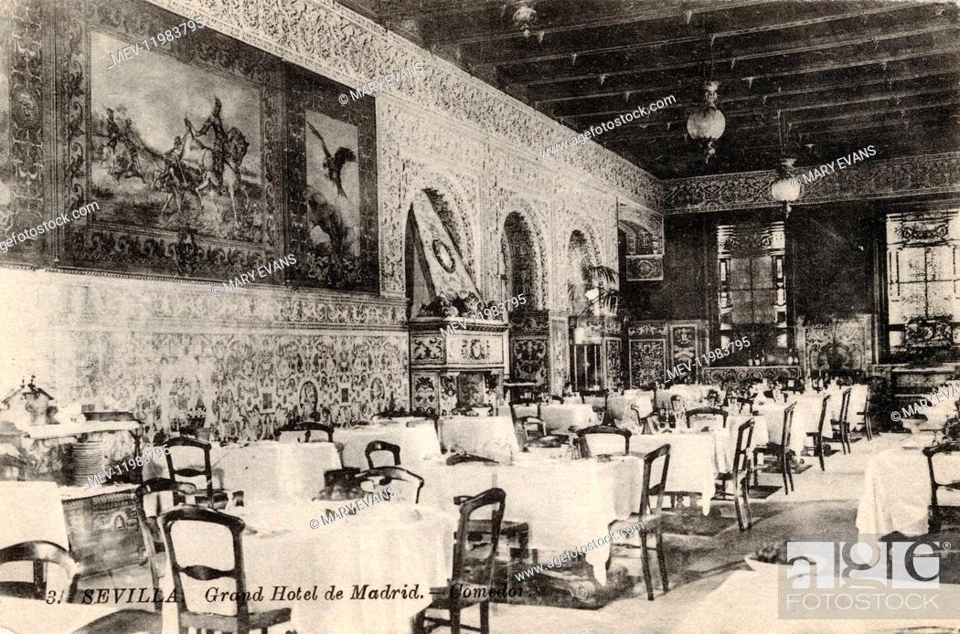 View Of The Dining Room Grand Hotel De Madrid Seville Spain Stock Photo Picture And Rights Managed Image Pic Mev 11983795 Agefotostock