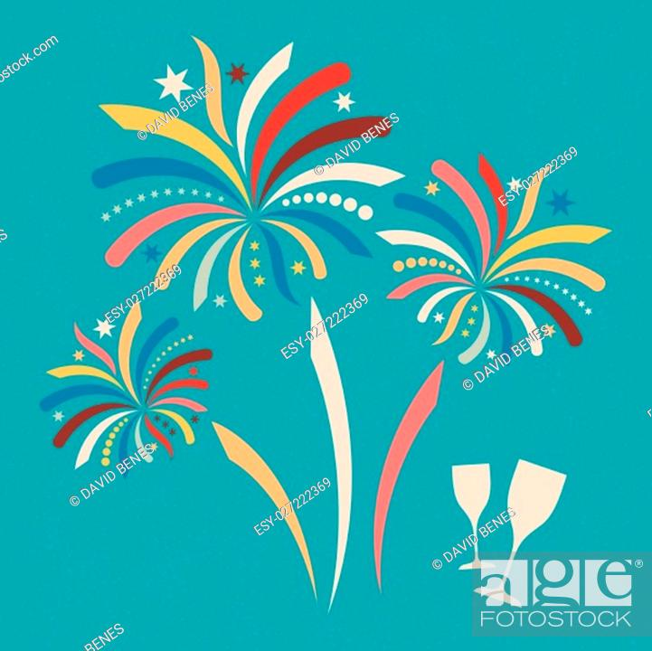 Stock Photo: Colorful vector firework on retro new year poster.