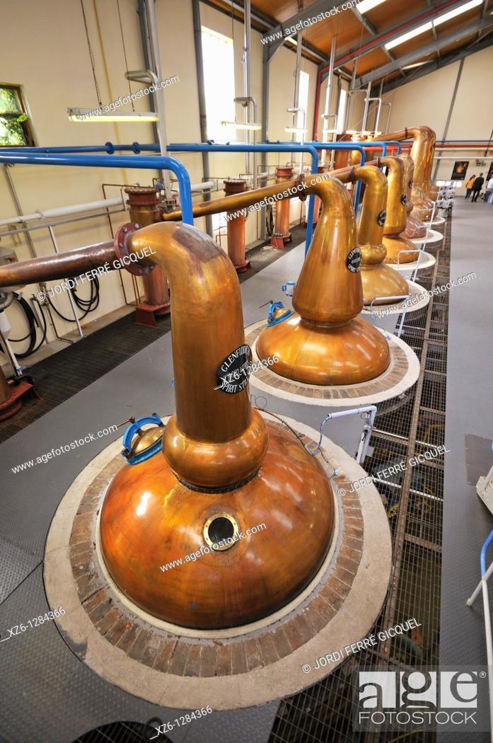 Stock Photo: Stills, Glenfiddich Distillery, Dufftown, Moray, Scotland, United Kingdom, Europe.