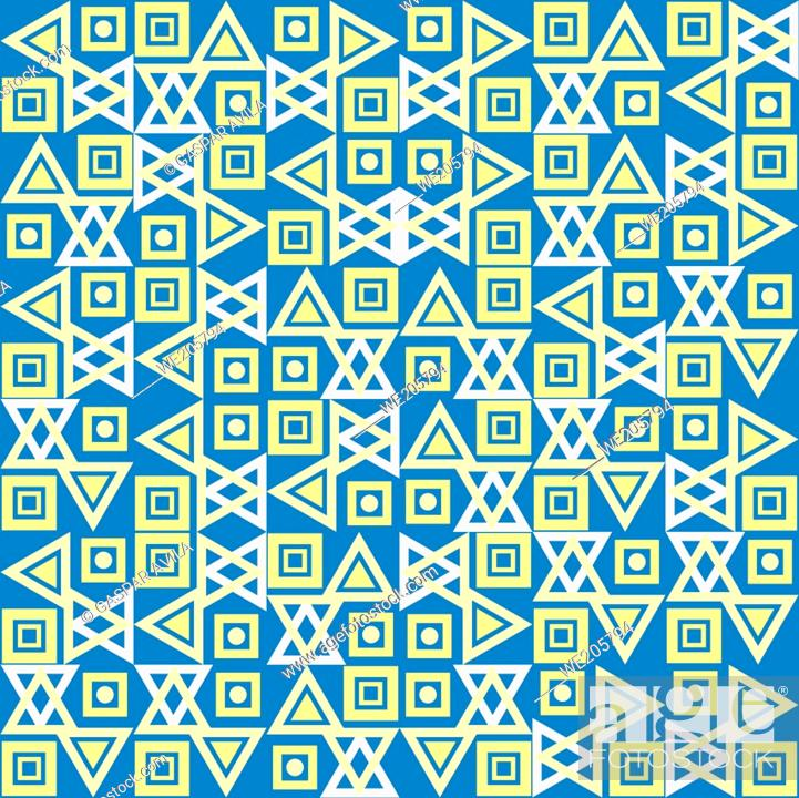 Stock Vector: Tiled geometric pattern in assorted shapes and light colors on a blue background. Geometric graphic design.