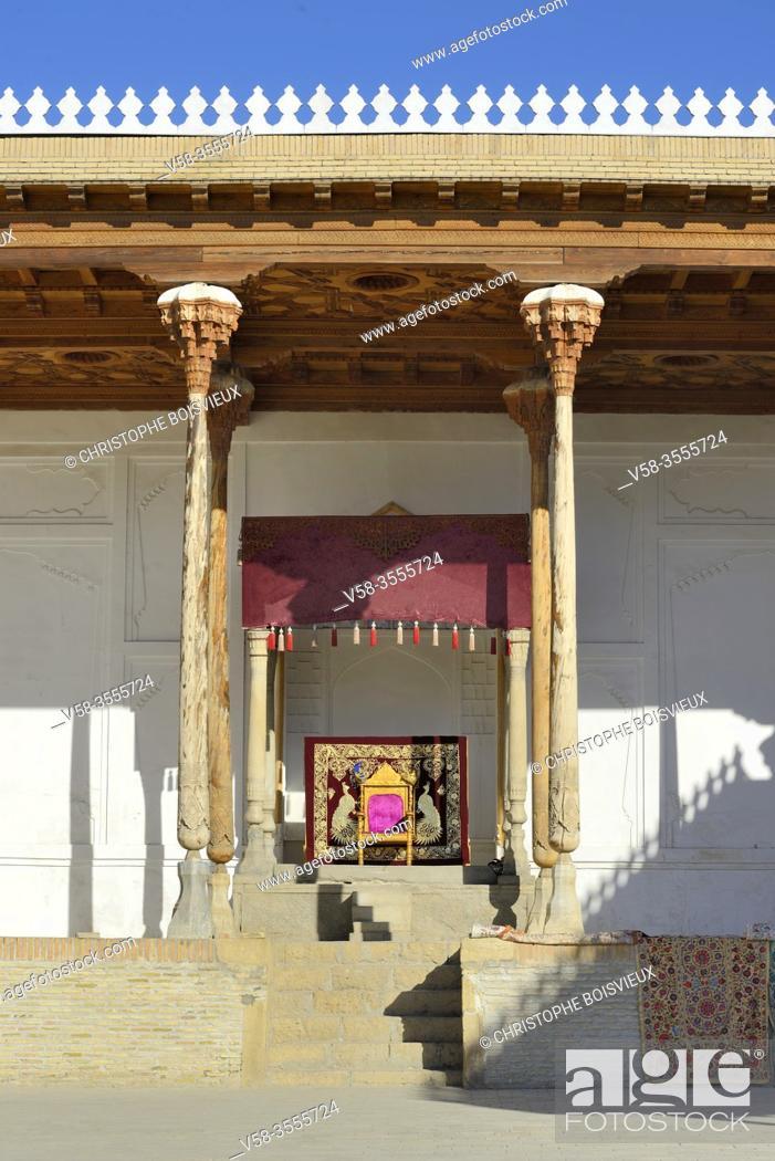 Stock Photo: Uzbekistan, Unesco World Heritage Site, Bukhara, The Ark (royal palace), Reception and coronation court.