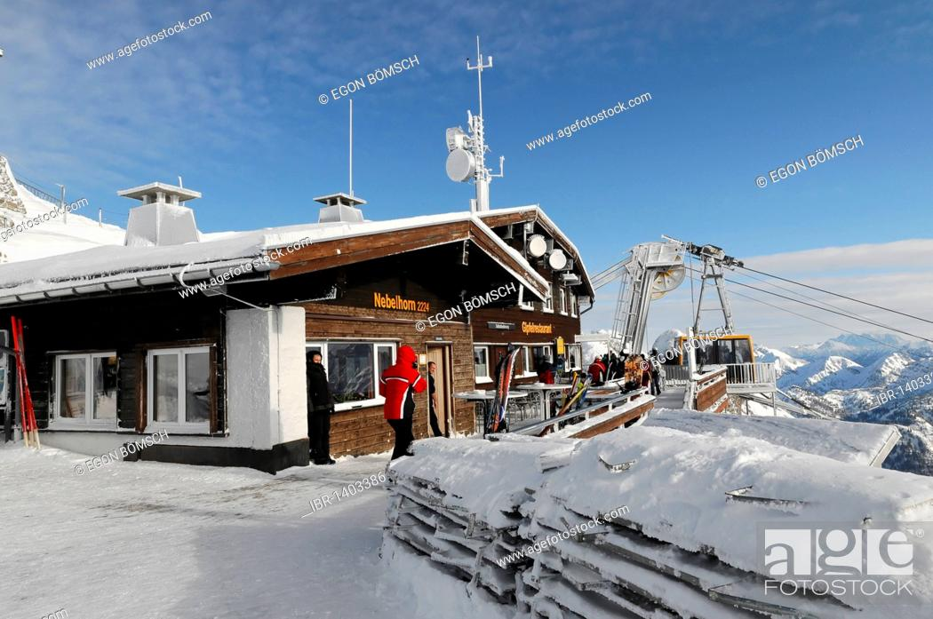 Stock Photo: Summit restaurant, Nebelhorn, 2224m, Oberstdorf, Oberallgaeu district, Bavaria, Germany, Europe.