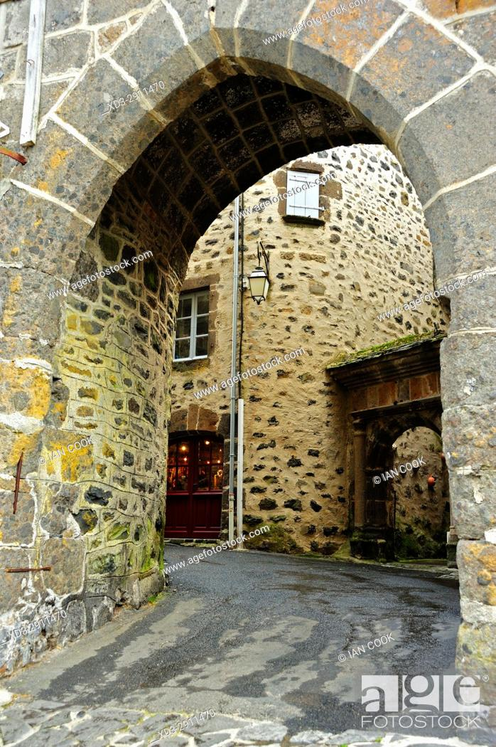Stock Photo: street scene, Salers, Cantal Department, Auvergne, France.