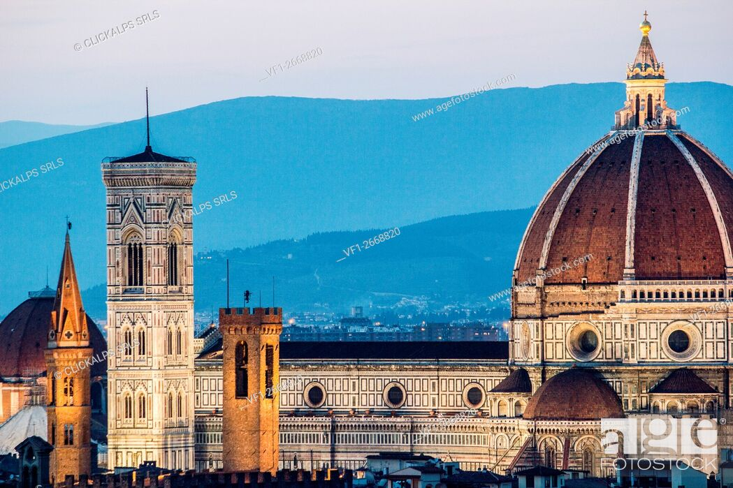Stock Photo: Florence, Tuscany, Italy. cityscape and Cathedral and Brunelleschi Dome, Giotto Tower. Sunset, lights on.