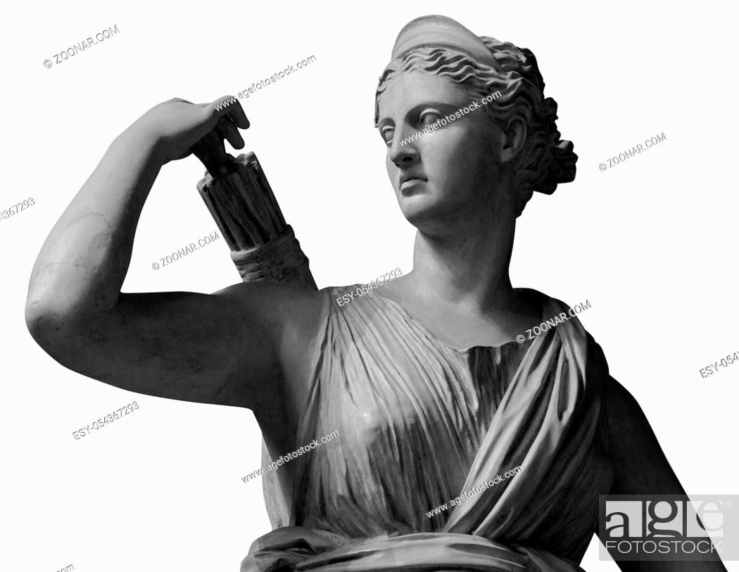 Photo de stock: Statue of Goddess Diana the Huntress. Marble sculpture in art garden. Isolated on white background. Beautiful female face.