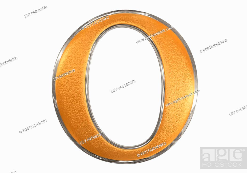Stock Photo: Lowercase letter O, isolated on white, with clipping path, 3D illustration.