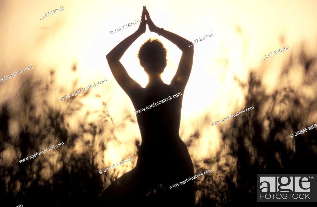 Stock Photo: silhouette of a yoga teacher.
