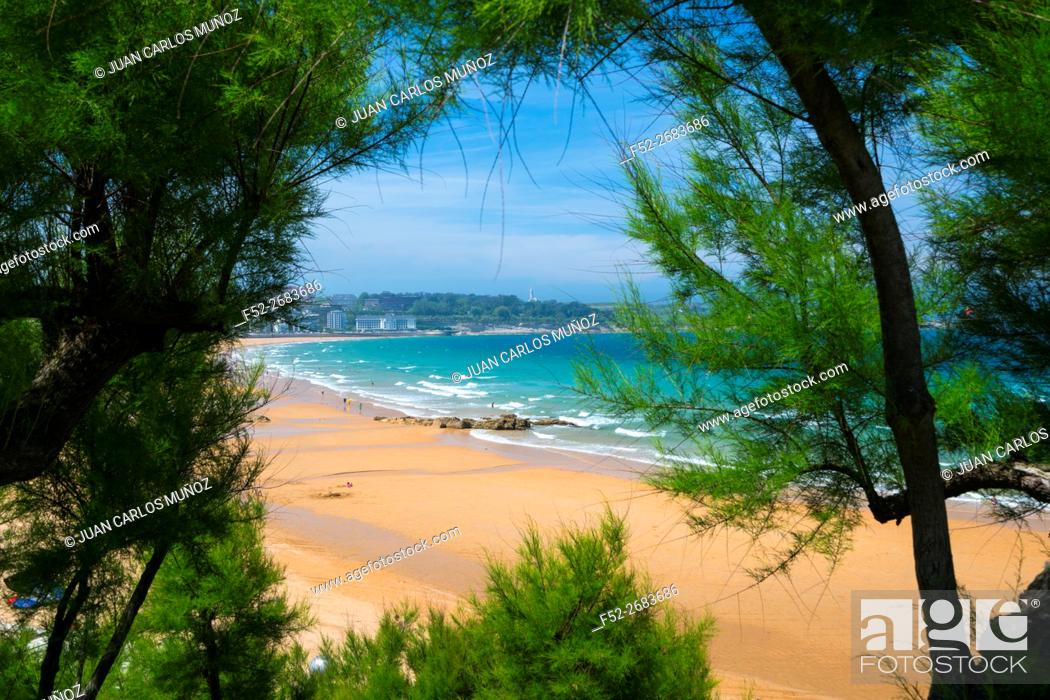 Stock Photo: La Concha Beach, El Sardinero First Beach, El Sardinero Second Beach, Mayor Cape, Santander Bay, Santander, Cantabria, Spain, Europe.