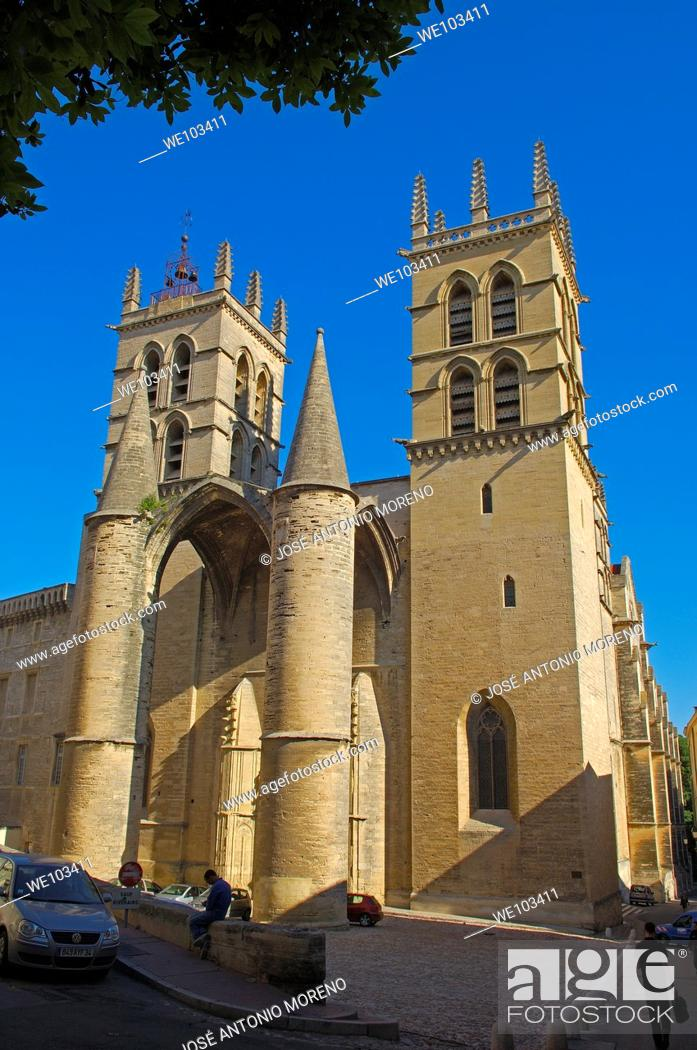 Stock Photo: St Pierre cathedral, Montpellier, Herault, Languedoc-Roussillon, France.