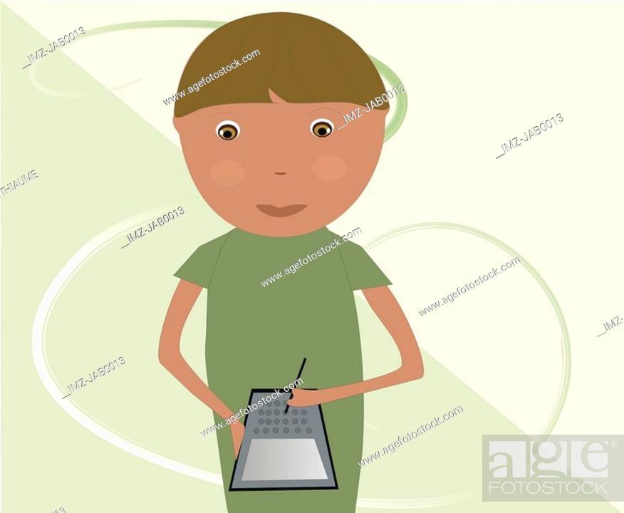 Stock Photo: A little boy using a PDA.