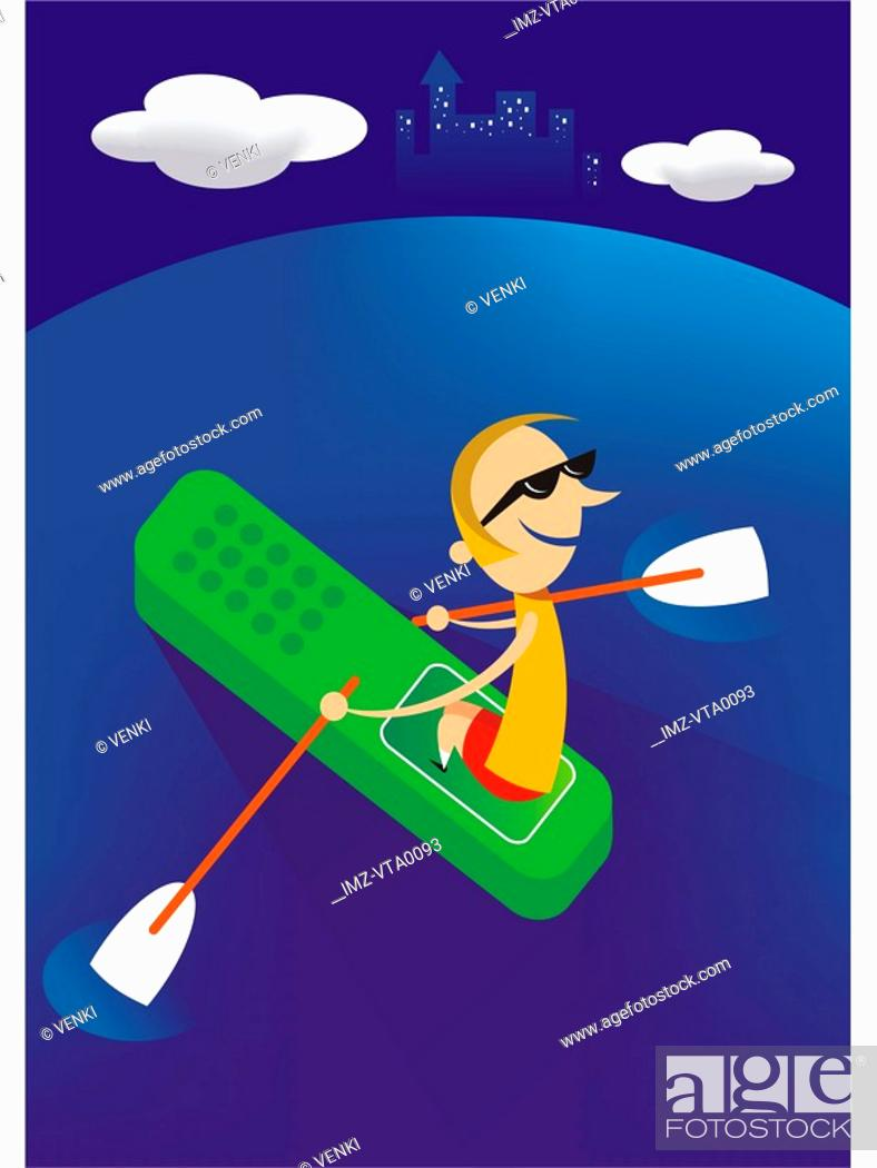 Stock Photo: A man rowing a boat shaped like a cell phone.