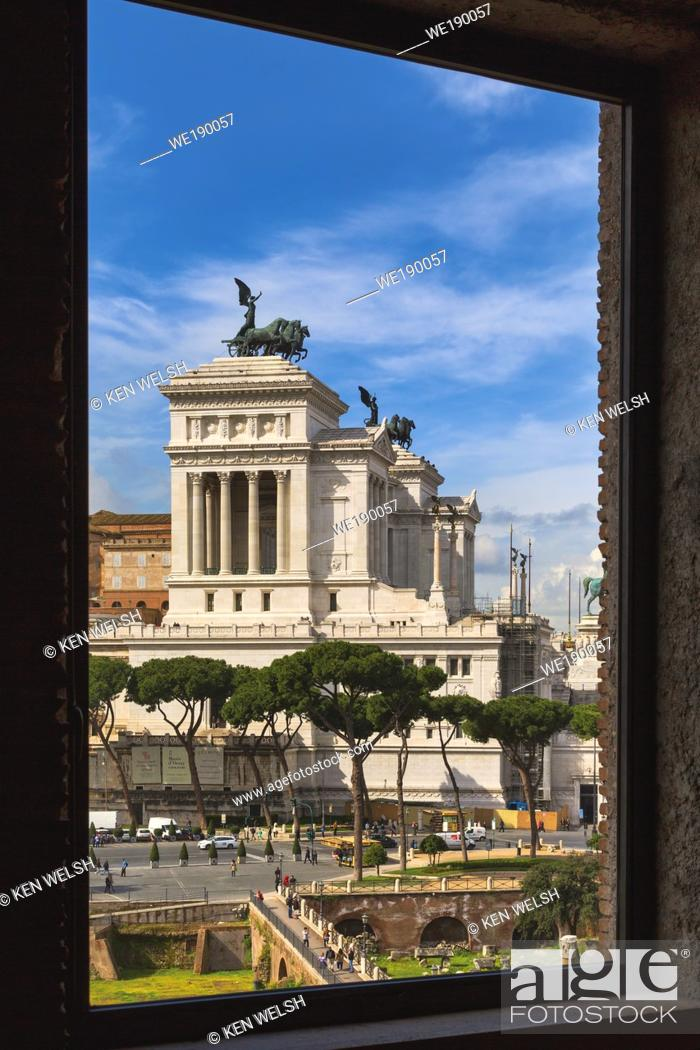 Stock Photo: Rome, Italy. Monument to Vittorio Emanuele II, also known as the Vittoriano, seen from Trajan's Forum. The Historic Centre of Rome is a UNESCO World Heritage.