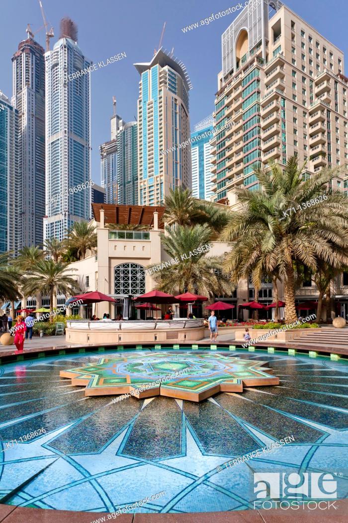 Stock Photo: A colorful fountain in the Marina district of Dubai, UAE, Persian Gulf.