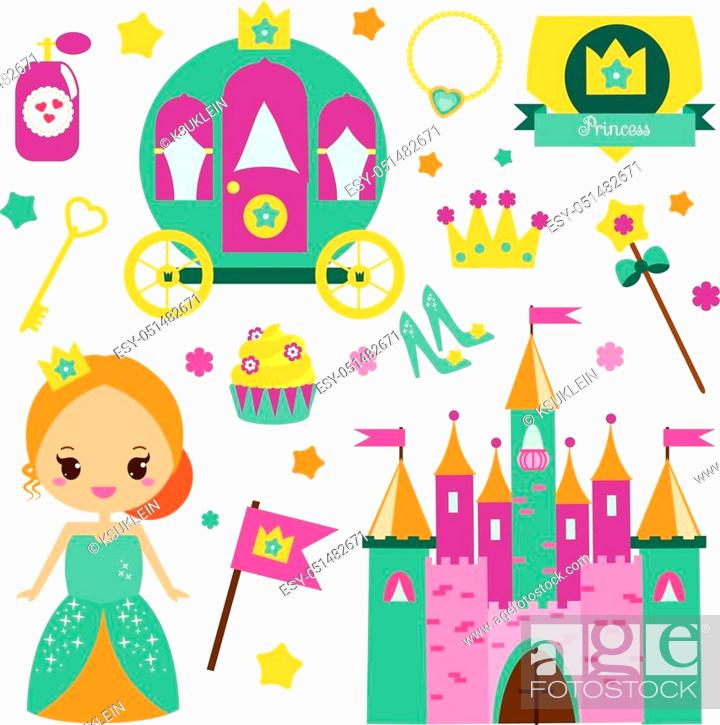 Stock Vector: Children princess party design elements. Stickers, clip art for girls. Carriage, castle, crown and other fairy symbols for invitations, scrapbook, blogging.