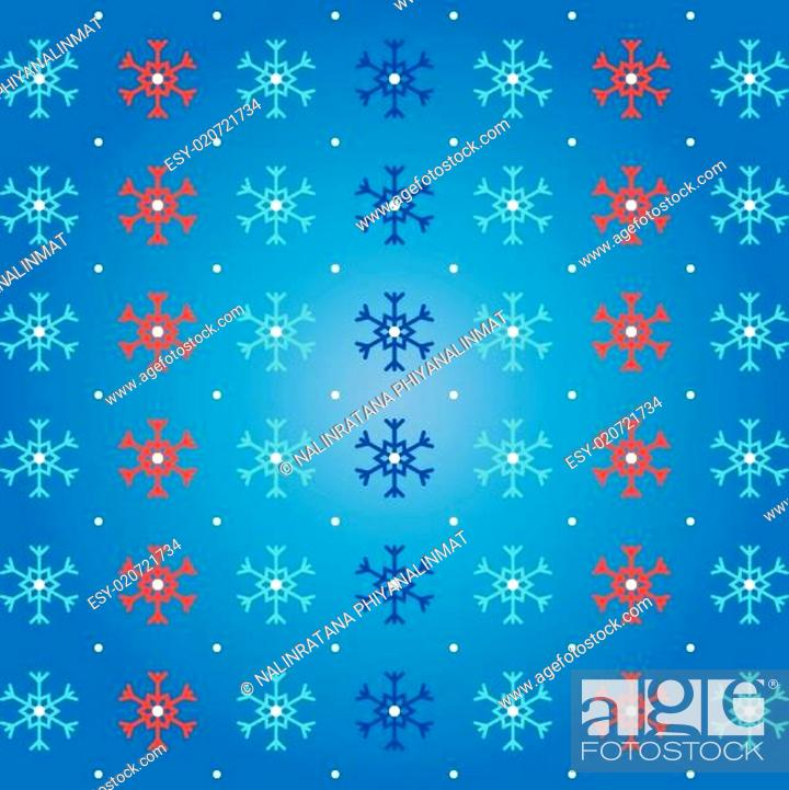 Stock Vector: Snow and snowflake on blue pattern background.