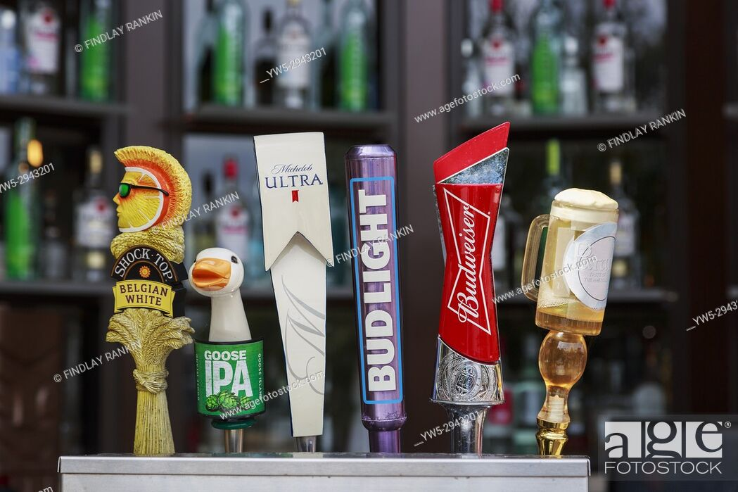 Stock Photo: Selection of beers and lagers for sale at a bar cafe at Disney Springs, Orlando, Florida, America, USA.