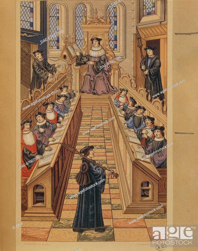 Stock Photo: France - 16th century. Session of Doctors at the Paris University. Miniature from Chants Royaux.  Paris, Bibliothèque Des Arts Decoratifs (Library).