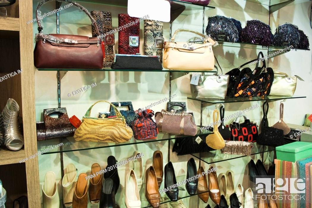 Stock Photo: Purses and sandals display in a store, Ansal Plaza, New Delhi, India.