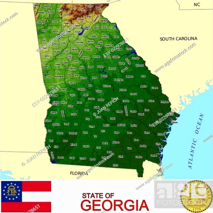 Stock Vector: Georgia USA State counties emblem map.